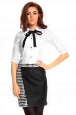 Ołówkowa Czarno-biała Spódnica z Eko-Skórą
