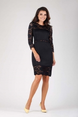 Czarna Wyjściowa Ołówkowa Sukienka z Koronką