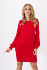 Czerwona Kobieca Dzianinowa Sukienka z Długim Rękawem