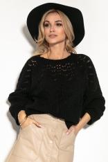 Ażurowy Sweter z Bufiastym Rękawem - Czarny