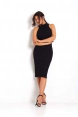Czarna Dopasowana Sukienka Midi bez Rękawów