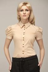 Beżowa Koszulowa Bluzka z Kontrastowymi Guzikami