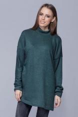 Morska Oversizowy Długi Sweter z Półgolfem