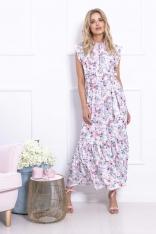 Maxi Sukienka w Kwiatowy Wzór z Falbankami