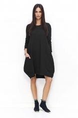 Czarna Sukienka Bombka z Wydłużonym Tyłem