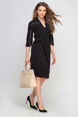 Czarna Sukienka Wizytowa z Kontrastowymi Lamówkami