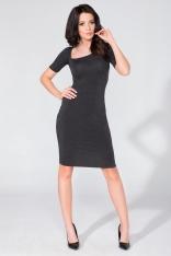 Ołówkowa Czarna Sukienka z Asymetrycznym Dekoltem