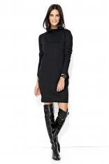 Czarna Codzienna Krótka Sukienka z Wysokim Golfem