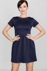 Niebieska Pikowana Sukienka z Krótkim Rękawem