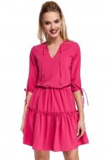 Różowa Sukienka w Stylu Boho