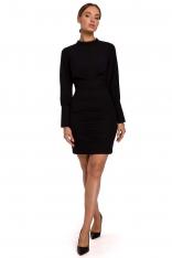 Czarna Ołówkowa Sukienka Mini ze Stójką