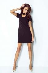 Czarna Sukienka Trapezowa Krótka z Chockerem