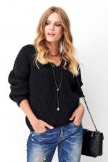 Czarny Klasyczny Sweter Oversize z Dekoltem w Serek