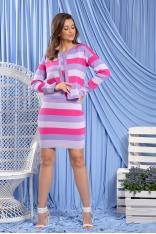Komplet Bawełniany Sukienka i Kardigan w Paski - Fioletowy