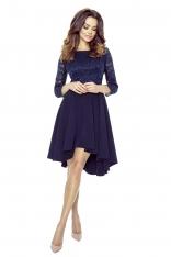 5b4ee5bc2b Granatowa Sukienka Rozkloszowana Asymetryczna z Koronkową Górą