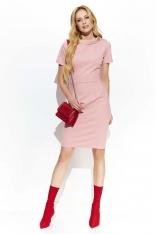 Różowa Klasyczna Sukienka z Guzikiem na Kołnierzyku