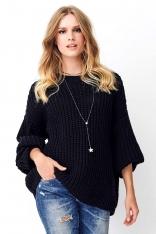 Czarny Oversizowy Sweter Wykonany Angielskim Ściegiem