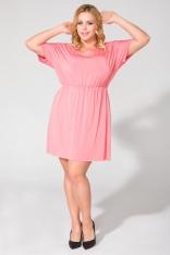 Różowa Codzienna Dresowa Sukienka Letnia Plus Size