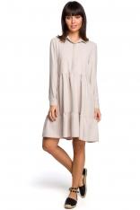 Beżowa Koszulowa Sukienka z Falbankami