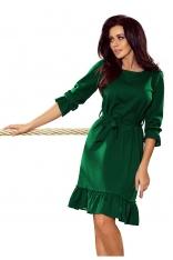 Zielona Sukienka z Falbankami Przewiązana Paskiem