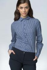 Klasyczna Bawełniana Koszula w Granatową Kratkę