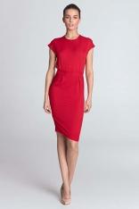Czerwona  Sukienka Dzianinowa z Zakładkami w Talii