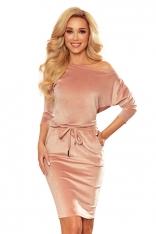 Sportowa Sukienka z Wiązaniem z Przodu - Różowa  Welur