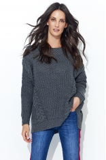Grafitowy Ażurowy Sweter Oversize z Warkoczami
