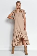Letnia Sukienka z Asymetryczną Falbanką - Beżowa