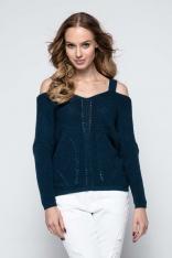 Granatowy Lekki Nietoperzowy Sweter ze Zmysłowym Dekoltem