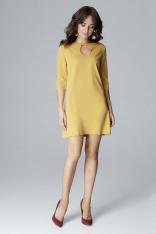 Żółta Wizytowa Rozszerzana Sukienka z Łezką przy Dekolcie