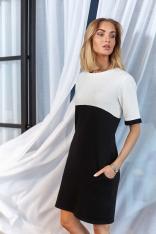 Czarno Biała Dwubarwna Krótka Sukienka z Kieszeniami