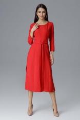 Czerwona Rozkloszowana Wizytowa Sukienka z Przeszyciami i Paskiem