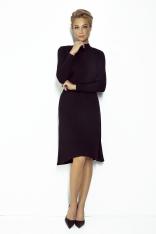 Czarna Rozkloszowana Sukienka na Stójce z Wiązaniem