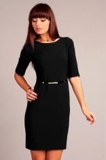 Czarna Klasyczna Sukienka z Rękawem do Łokcia z Paskiem