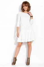 Ecru Kobieca sukienka z Falbankami