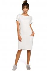 Dresowa Ecru Sukienka Mini z Kieszeniami w Szwach
