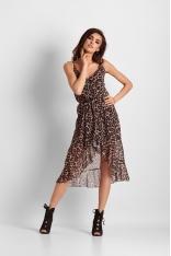 Kopertowa Sukienka w Panterkę na Ramiączkach