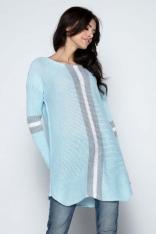Błękitny Długi Sweter -Tunika z Kontrastowymi Paskami