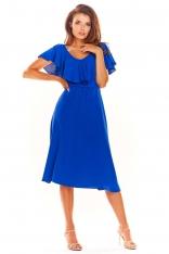 Niebieska Rozkloszowana Midi Sukienka z Falbanką przy Dekolcie