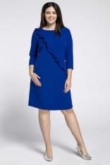 Niebieska Klasyczna Sukienka z Asymetryczną Falbanką PLUS SIZE