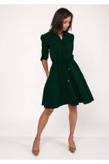 Zielona Sukienka ze Stójką z Rozkloszowanym Dołem