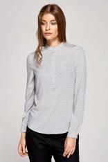 Koszulowa Bluzka Polo z Niską Stójką w Kafelki