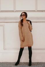 Swetrowa Sukienka -Tunika z Dekoltem V - Kamelowa