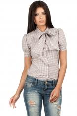 Koszulowa Bluzka w Kratkę z Kokardą pod Szyją - Brązowy