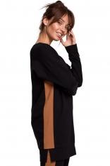 Czarna Dłuższa Bluza z Lampasami