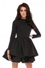 Czarna Dziewczęca Rozkloszowana Sukienka z Falbaną