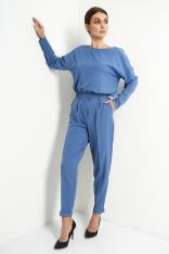 Stylowy Komplet Bluzka i Spodnie - Jeans