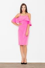 Elegancka Różowa Sukienka Midi z Falbanką przy Dekolcie