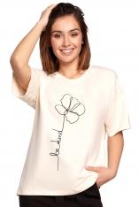 Luźny T-shirt z Nadrukiem -  Śmietankowy